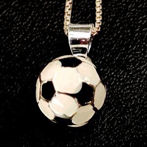Vintage Sterling & Enamel Soccer Ball Necklace